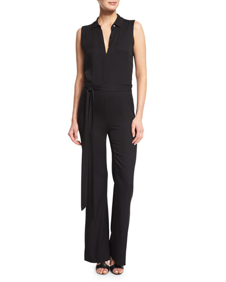 Diane von Furstenberg Traci Sleeveless Silk-Stretch Jumpsuit,