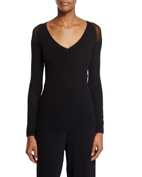 Fuzzi Long-Sleeve Sheer-Shoulder Tee, Black