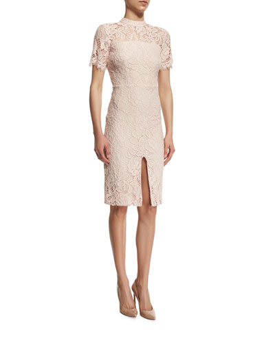 Ardella Short-Sleeve Lace Sheath Dress, Blush