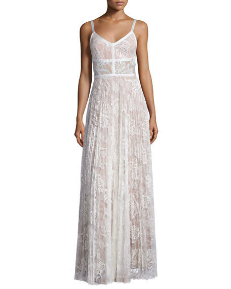 Isabella Pleated Lace Maxi Dress, White