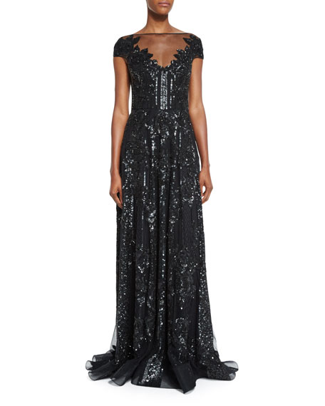 Beaded Cap-Sleeve Flared Gown, Black