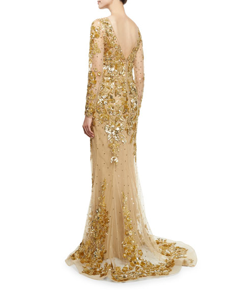 Beaded Long-Sleeve Illusion Gown, Gold