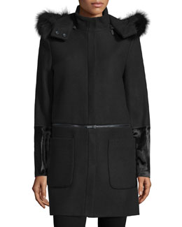 Parker Fur-Trim Convertible Coat, Onyx