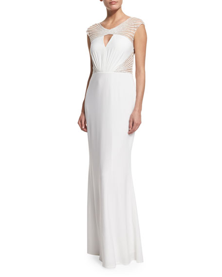 MIGNON Open-Back Embellished Gown, White