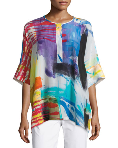 Selene Printed Silk Top