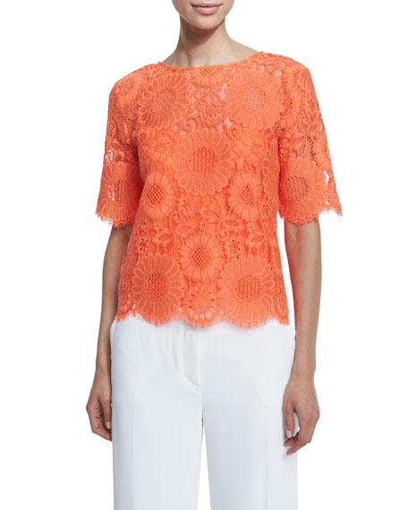 Trina Turk Short-Sleeve Floral Lace Top