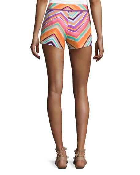 Chevron-Striped Short Shorts, Multi