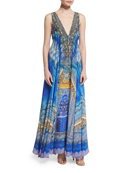 Camilla Embellished Flowy Maxi Dress, Palace of Dreams