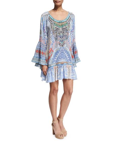 Camilla Long-Sleeve Embellished Frill Dress