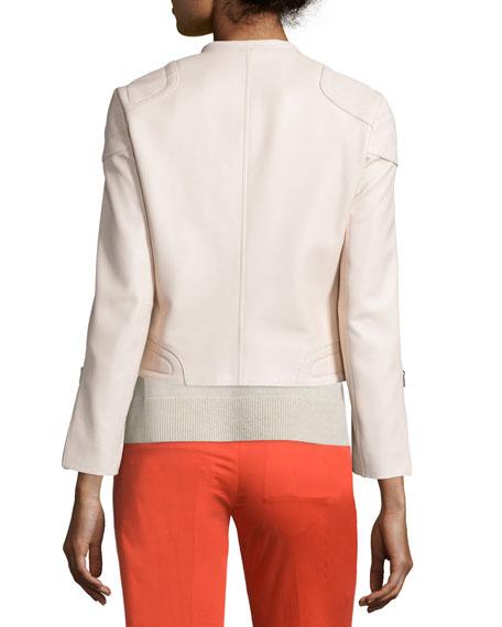 Astor Leather Zip-Front Jacket, Blush Buy
