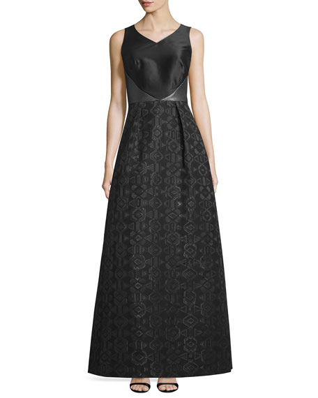 Theia Sleeveless V-Neck Combo Gown, Black