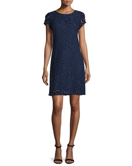 Laundry by Shelli Segal Short-Sleeve Lace Dress, Inkblot
