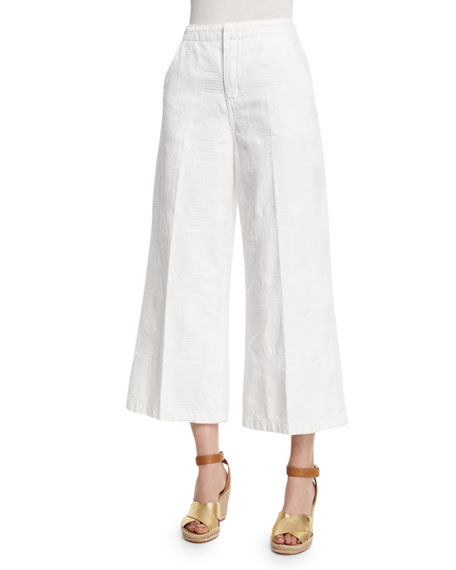 Tory Burch Wide-Leg Cropped Pants, White