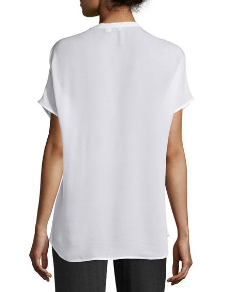 Short-Sleeve Silk Popover Top