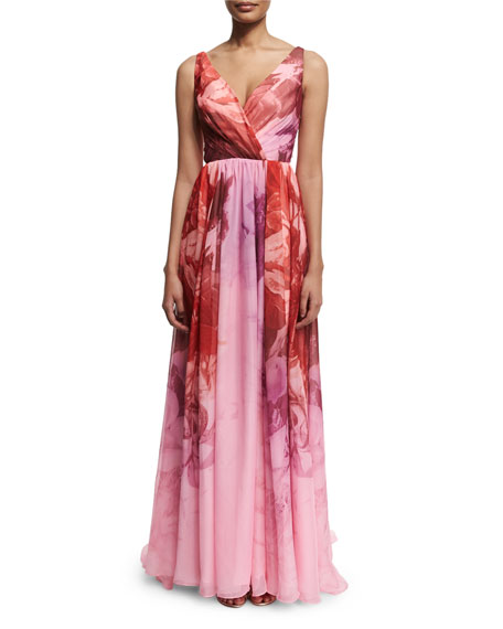 ML Monique Lhuillier Sleeveless Floral-Print Ombre Gown, Sorbet