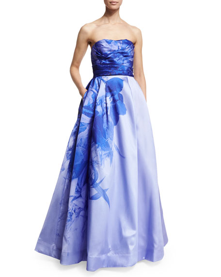 ML Monique Lhuillier Strapless Sweetheart-Neck Ombre Floral-Print