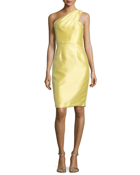 ML Monique Lhuillier One-Shoulder Jacquard Sheath Dress, Daisy