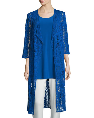 3/4-Sleeve Mix-Crochet Duster Jacket, Royal