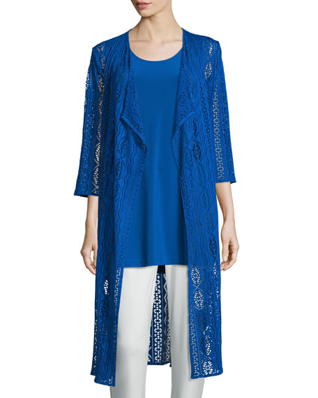 Caroline Rose 3/4-Sleeve Mix-Crochet Duster Jacket, Royal