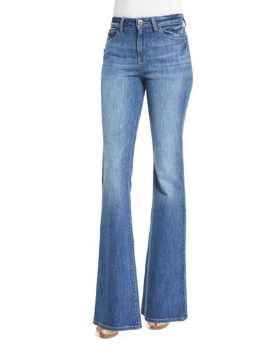 Heather High-Waist Boot-Cut Jeans, Leonard