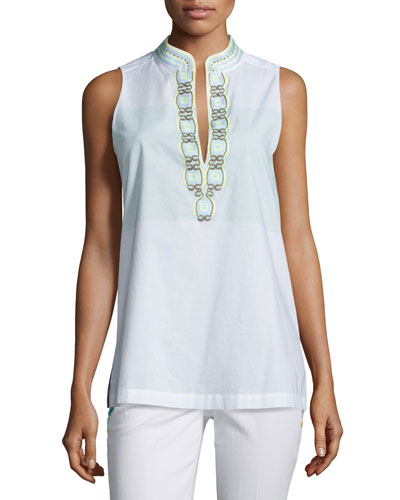Sleeveless Embroidered Tunic, Isla Collins Stripe