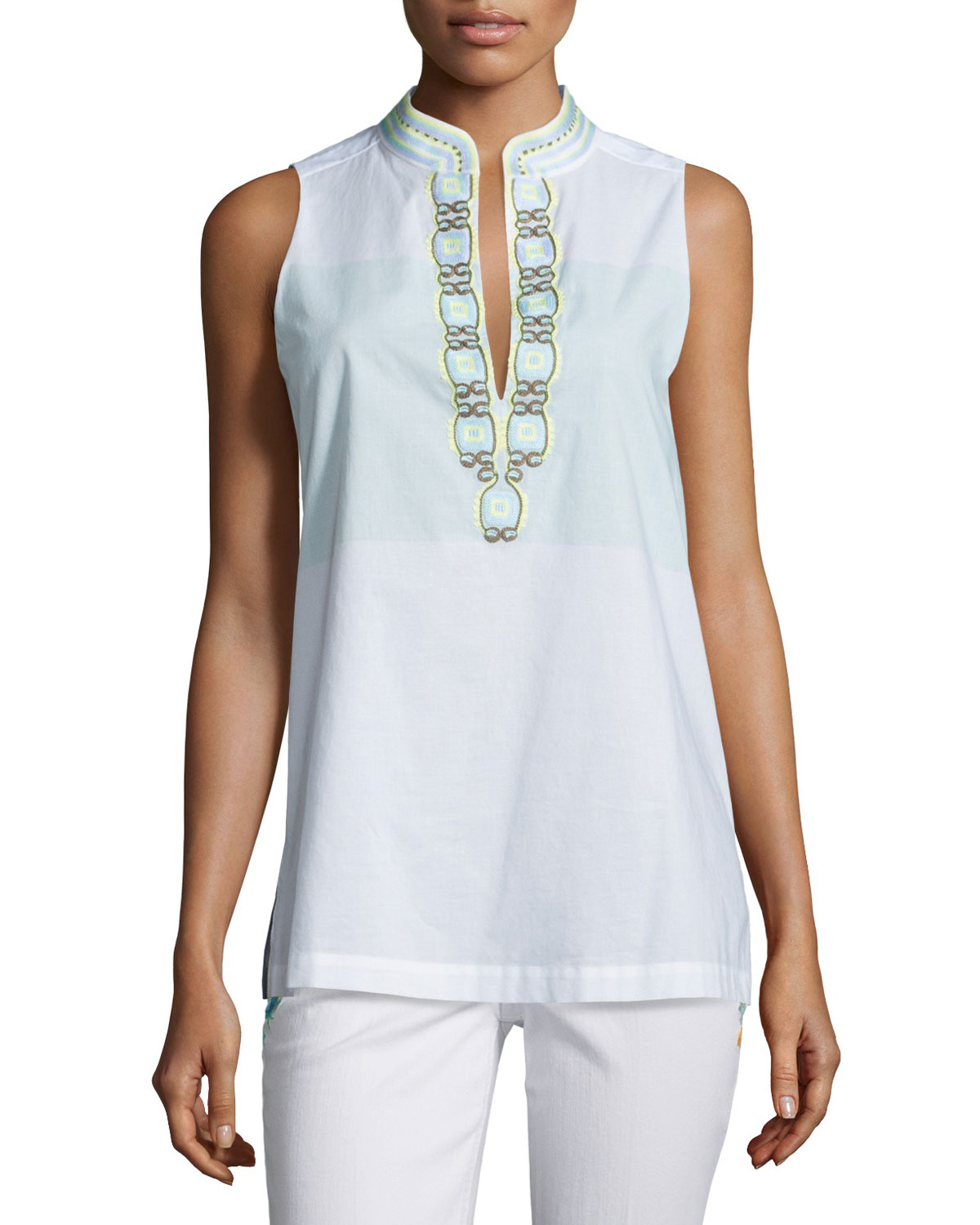 9ec865abe28 Tory Burch Sleeveless Embroidered Tunic, Isla Collins Stripe ...