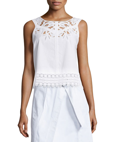 Tory Burch Lydia Sleeveless Embroidered Cutwork Top