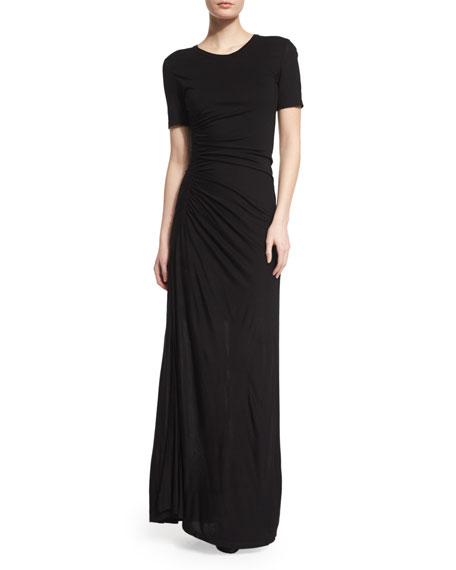 A.L.C. Laila Short-Sleeve Ruched Maxi Dress, Black
