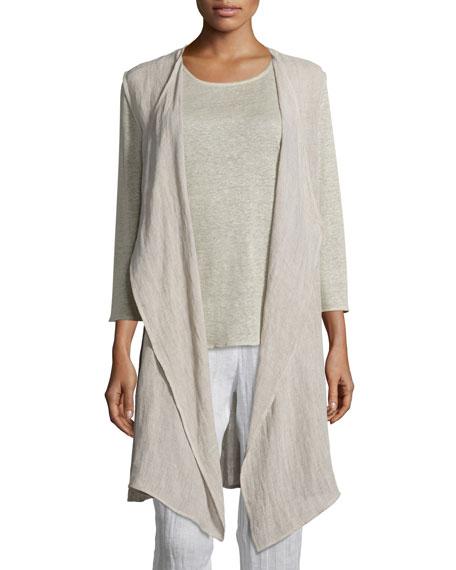 Caroline Rose Crinkled Long Linen Vest, Plus Size