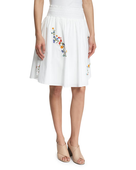Tory Burch Cassie Floral-Embroidered Skirt