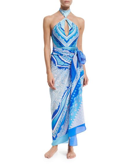 Gottex Blue Jasmine Printed Silk Pareo