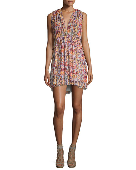 Iro Plum Sleeveless Printed Mini Dress, Orange