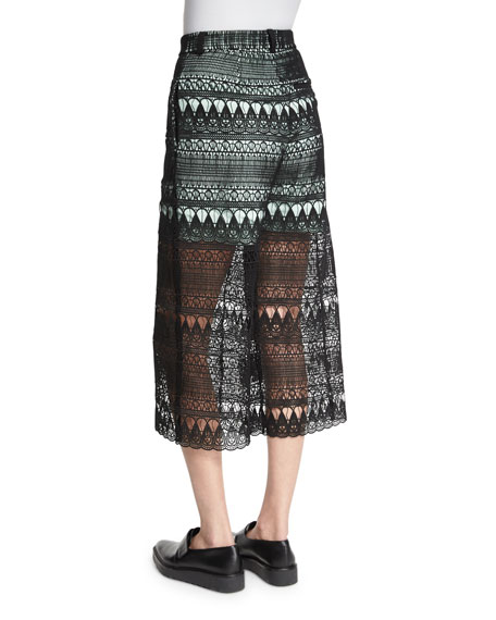 Sheer Guipure-Lace Culottes, Black/Mint