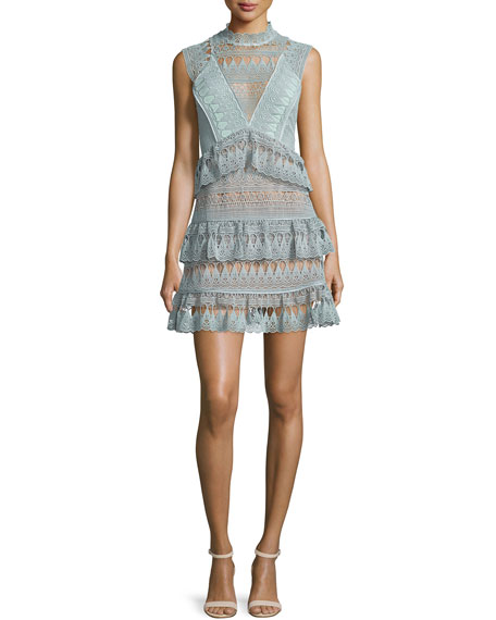 Self Portrait Sleeveless Tiered Lace Mini Dress, Mint