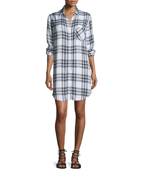 Rails Sawyer Plaid Long-Sleeve Shirtdress, Ebony/White