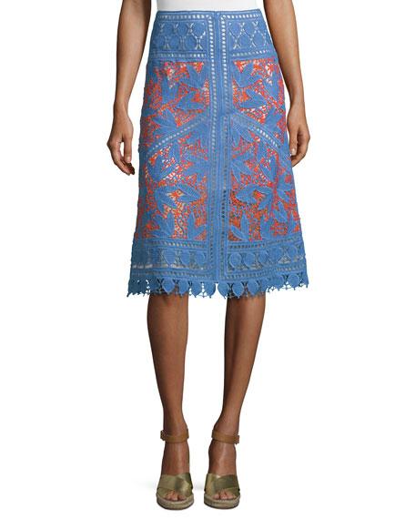 Tory Burch Whitney Lace Crochet Skirt, Hudson Blue