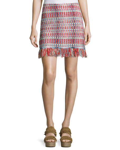 Tory Burch Tara Tweed Skirt with Fringe
