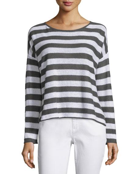 Eileen Fisher Wide Striped Box Top, Bark/White