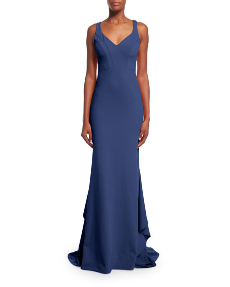 ZAC Zac Posen Pamela V-Neck Mermaid Gown, Navy