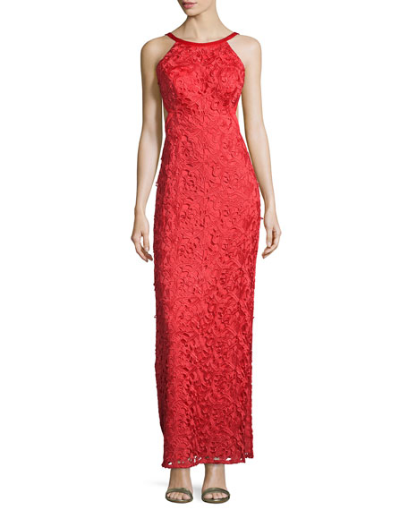 Aidan by Aidan Mattox Sleeveless Lace Open-Back Dress