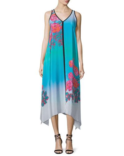 Sleeveless V-Neck Ombre Printed Midi Dress