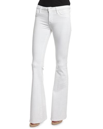 Petite Flare-Leg Jeans, White