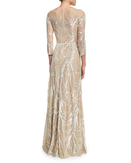 3/4-Sleeve Illusion-Neck Beaded Gown