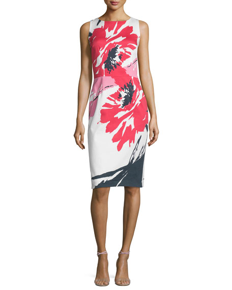 David Meister Sleeveless Macro-Floral-Print Sheath Dress, Multi