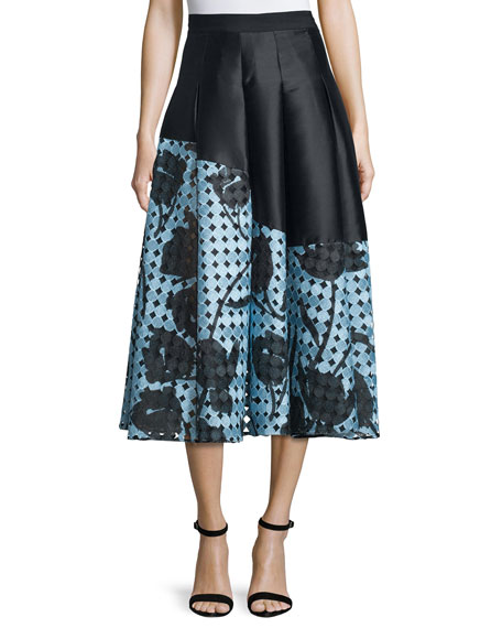 Sachin & Babi Noir Floral Imago Two-Tone Pleated Skirt
