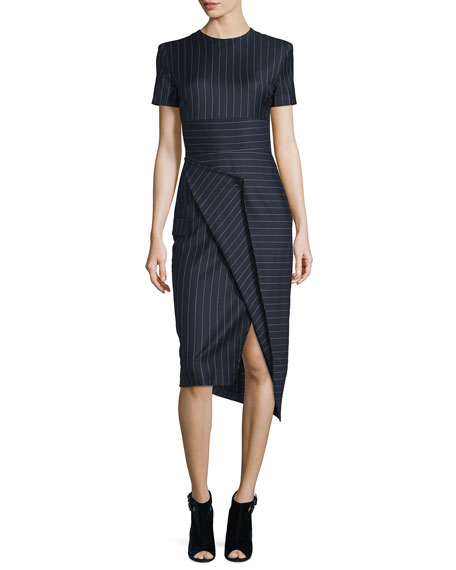 DKNY Short-Sleeve Pinstripe Midi Dress, Classic Navy