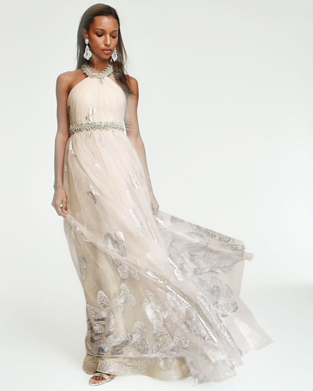 Halter Beaded Butterfly Tulle Gown, Blush