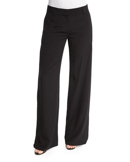 DKNY Crepe Wide-Leg Cutout Pants, Black