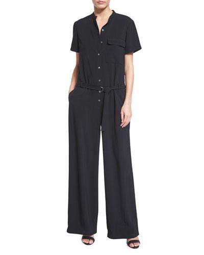 Short-Sleeve Crepe Wide-Leg Jumpsuit, Black