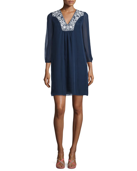 Diane von Furstenberg Maslyn Embroidered Silk Shift Dress,